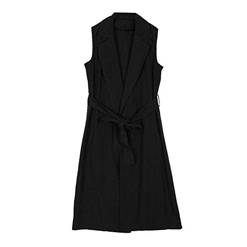 Tongshi Nuevas mujeres bolsillo Casual chaleco sin mangas largo Blazer chaqueta abrigo Negro