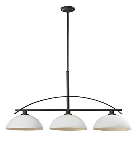 Z-Lite 606-3 Ellipse Three Light Island/Billiard Light, Steel Frame, Bronze Finish and Matte Opal Shade of Glass -