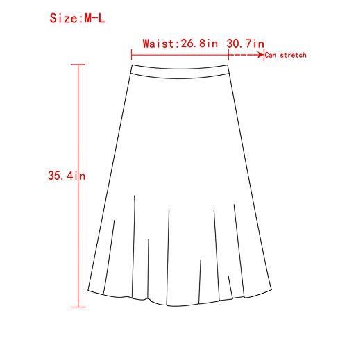 7e7a98bd8c Rebecca Women's Midi Skirt Long Pleated Skirt Shiny Shimmer A Line High  Waist Skirts
