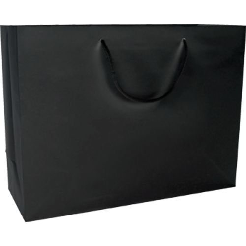 Gunther Mele 23811615 Rope Handle Tote Bags, Paper, 16'' x 6'' x 12'' x 5'' Size, Matte Black (Pack of 100) by Gunther Mele