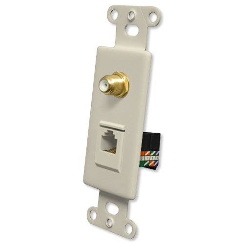 Pro Wire OEM Systems Combo Jack Plate (1 F, 1 RJ45), Almond (IW-1F1RJ45G-a)