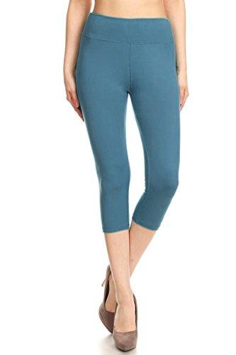 Leggings Mania Women's Wide Waistband Yoga Capri, Sea Foam, Plus Size (L-XXL, 12-22)