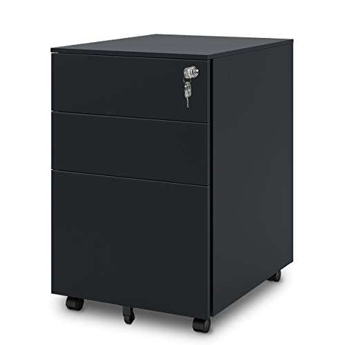 DEVAISE 3 Drawer Mobile File Cabinet with Lock, Mobile Pedestal Cabinet in Black