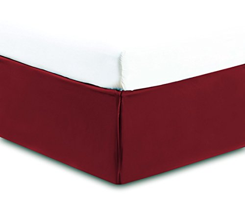 SRP Bedding Real 350 Thread Count Box Pleated Bed Skirt / Dust Ruffle Full Extra Long (Full XL) Size Solid Burgundy 17