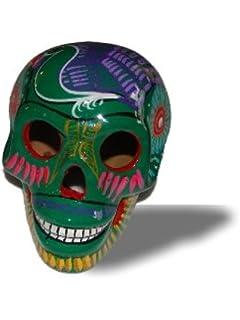 Green Day Of The Dead Sugar Skull Mexico Hand Made Decor Calavera Dia De Los Muertos
