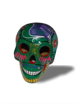 Sanyork Fair Trade Green Day of The Dead Sugar Skull Mexico Hand Made Decor Calavera Dia de Los Muertos 5