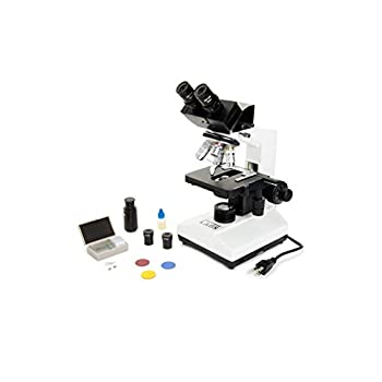 Image of Binoculars & Scopes Celestron CB2000C Compound Binocular Microscope w/40x - 2000x power, mechanical stage, 4 Fully achromatic objectives, Abbe condenser, 10x and 20x eyepieces, coaxial focus, 10 prepared slides, 3 color filters, emersion oil