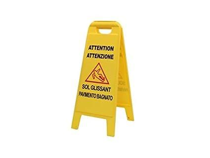 Cartello segnale pavimento bagnato italiano c112619: amazon.it: casa