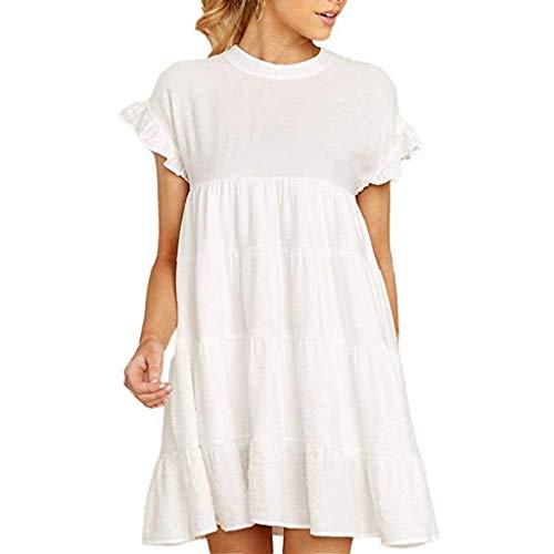 Pengy Women's Ruffle Sleeve Dress Casual Plain Short Sleeve Dress Fashion Pleated Swing Party Mini Dress White]()