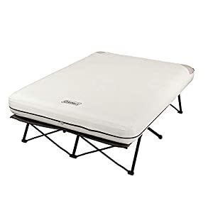 Coleman Camping Cot, Air Mattress, and Pump Combo | Folding Camp Cot and Air Bed with Side Tables and Battery Operated…