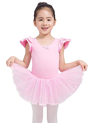 Dancina Ballet Leotard Puff Sleeve Full Front Lining 8 Light Pink ()