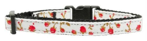 Mirage Pet Products Roses Nylon Ribbon Collar for Cat, Red