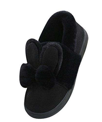 Scarpette Da Passeggio Cravatta Da Donna Calde Pantofole Con Ciabattina Bunny Pantofole Nere