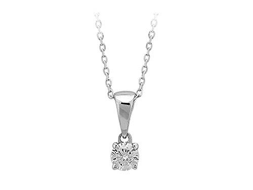 Pendentif Diamant Solitaire 0.17 Carat-Femme- or Blanc 204P0010