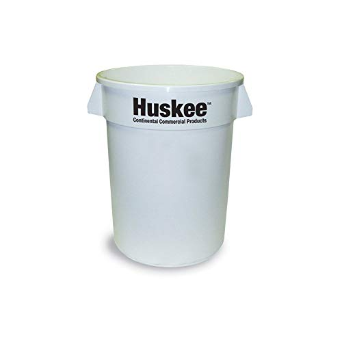 Continental 1001WH 10-Gallon Huskee LLDPE Waste Receptacle, Round, White