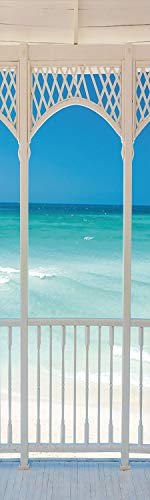 Coastal Decor 3D Decorative Film Privacy Window Film No Glue,Frosted Film Decorative,Romantic Wooden Terrace with View of Tropical Beach in Cuba Pavilion,for Home&Office,23.6x70.8Inch White Aqua Blue