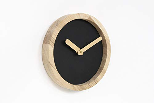 Handmade Black Wooden Wall Clock 9.8 x 9.8 x 1.6 inches