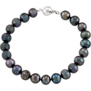 Argent sterling culture d'eau douce perle noire 19,7cm Bracelet