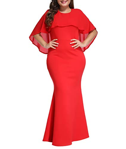 LALAGEN Womens Ruffle Mermaid Formal Gown Plus Size Evening Party Maxi Dress Red XXL-1