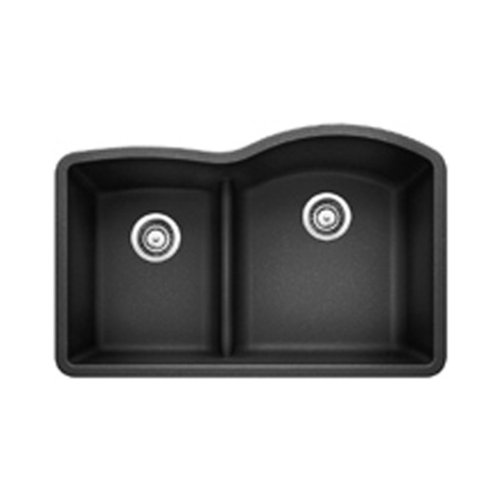Diamond Silgranit Anthracite Double Bowl (Blanco 441598 Diamond 1.75 Low Divide Under Mount Reverse Kitchen Sink, Large,)