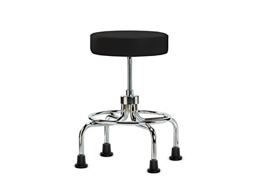 Perch Rolling Retro Exam Stool with Stationary Caps, Black Vinyl Spin Lift Exam Stool
