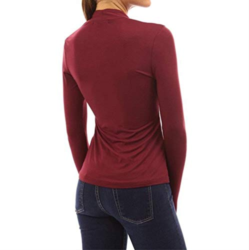 Longues Style Mode Spcial Loisir Col Manches lgant Fit Manche Jeune Tshirt Debout Shirt Et Uni Femme Top T Mode Button Winered Slim Shirts Party 0wFwqP7x