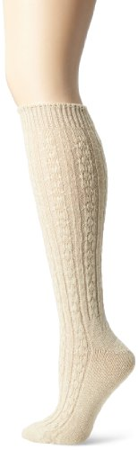 Wigwam Women's Cable Knee High Socks, Oatmeal, Medium/Shoe Size(6-10) - Cable Knit Knee High Socks
