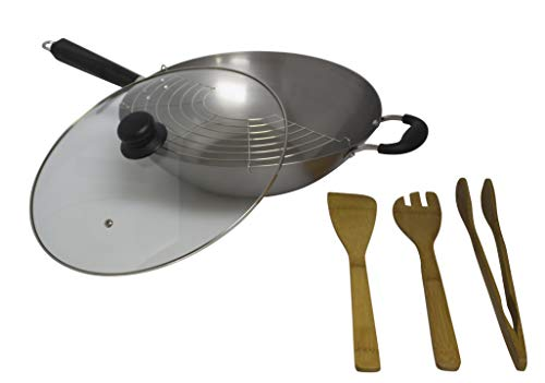 IMUSA USA WPAN-10022 Complete 7-Piece Natural Finish Wok Set (14-Inch Wok, Metal Half Moon Tray, Deep Fry Skimmer, and 3 Bamboo Tools)