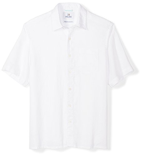 28 Palms Men's Relaxed-Fit Short-Sleeve 100% Linen Shirt, White, X-Large ()