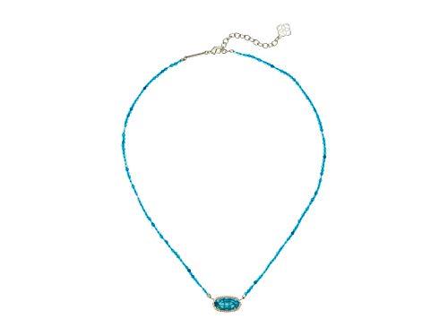 Kendra Scott Elisa Teal Agate Gold Beaded Blue Pendant Necklace