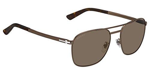 GUCCI Square GG2270FS Matte Brown Steel Bronze Polarized Sunglasses Special Fit 2270 Men