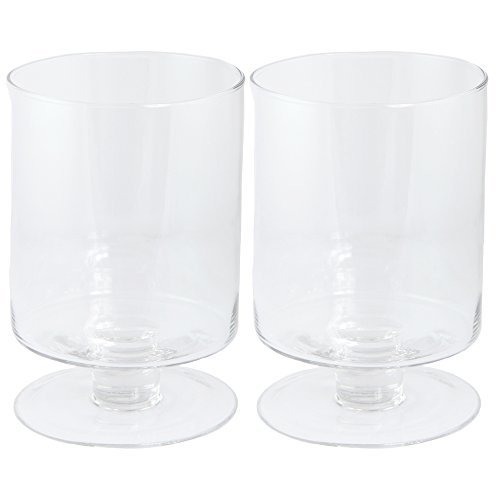 Candle Holder, Set of Two, Clear Glass, Hurricanes, 9