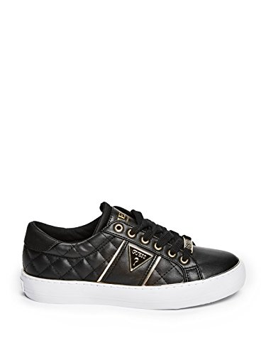 Factory Sneakers Quilted Top Black Leather GUESS Women's Gilda Low RdgxwqHU