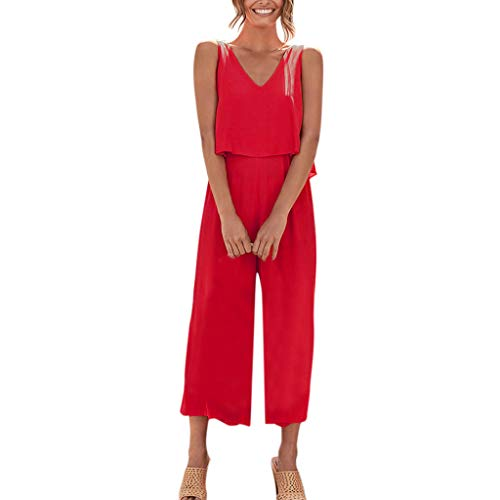 vermers 2019 Hot!!Party Jumpsuits Women Wide Leg Long Playsuit Linen and Cotton Short-Sleeved - Satin Sport Yarn Solids