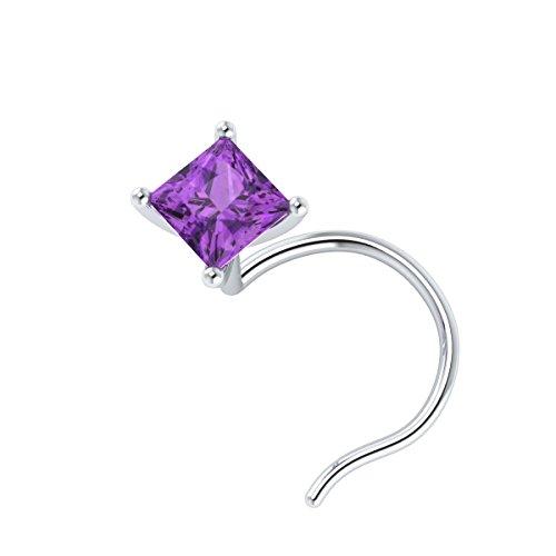Demira Jewels 3.00 mm Princess Cut Real Purple Amethyst 14k Gold Nose Piercing Stud -
