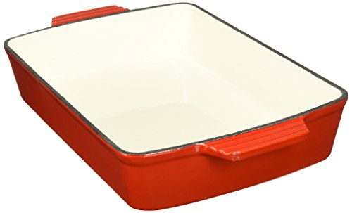 VonShef Cast Iron Cooking, Oven To Table Dish, Roasting Tray, Cookware, Pan, Red (Lasagna Pot)