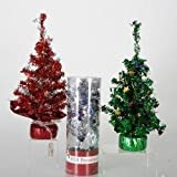 "12"" LED Lighted USB Burgundy Silver Artificial Table Top Christmas Tree"