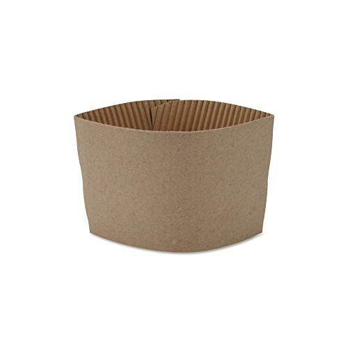 (Pack of 100) Disposable Paper Coffee Cup Sleeves, Protective Corrugated Reusable Holder, Cup Sleeve Fits Most Hot Cups, 10 oz. - 20 oz, Kraft