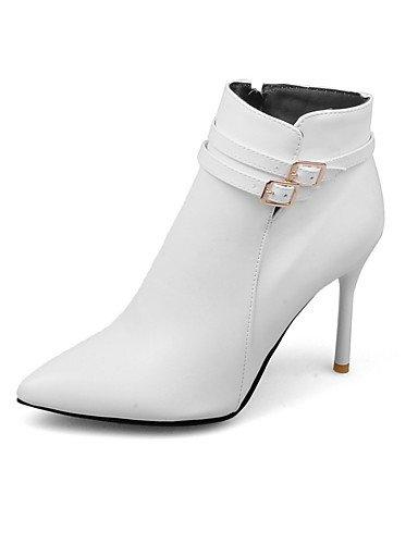 XZZ  Damen-Stiefel-Kleid-Kunstleder-Stöckelabsatz-Stifelette   Spitzschuh-Schwarz   Rot     Weiß B01KPZX2UO Sport- & Outdoorschuhe Mode dynamisch 3babf9