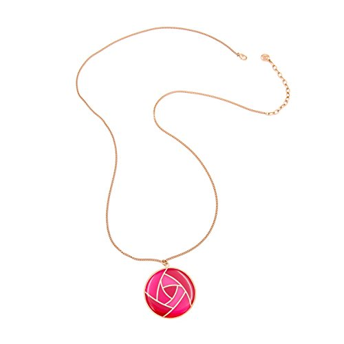 Red Transparent Necklace (Big Extra Long Rose Flower Pendant Necklace For Women Rose Gold Plated Statement Chunky Necklace Gifts (Red))