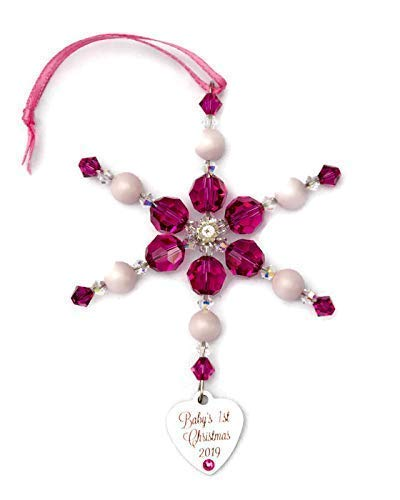Baby's First Christmas 2019 Hot Pink Snowflake Ornament with Swarovski ()