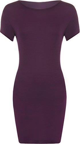 44 tailles t 48 Pourpre serre Grandes Femmes Robes en WearAll Mini manches robe du shirt courtes style gH6wRO