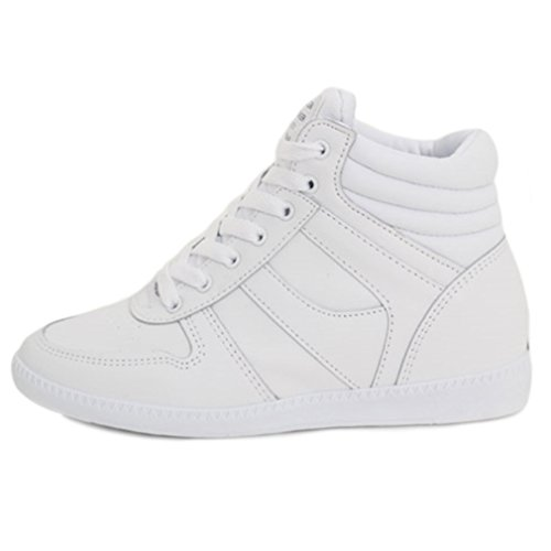 EpicStep Women's White Casual High Tops High Heels Hidden Wedges Lace Up Shoes Fashion Sneakers 6 M US - High Heel Sneaker Shoes