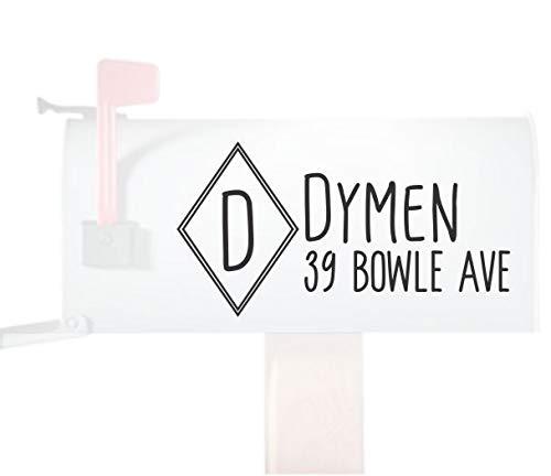 Modern Diamond Monogram Personalized Mailbox Stickers Decals Vinyl Address, Set of 2 Jumbo ... ()