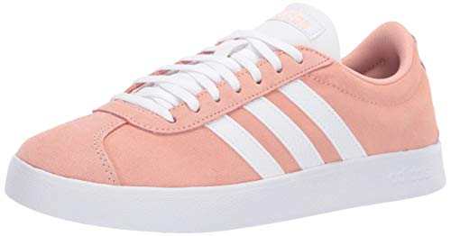 adidas Women's Vl Court 2.0, dust Pink/White/Light Granite, 10 M US - Plush Womens Adidas