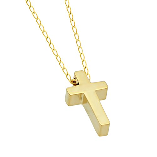 Mother Day Gift 925 Sterling Silver Tiny 14K Gold Plated Cross Necklace Gold Small Christian Necklace 15inch + 2 Extension w Lobster Clasp Dainty Necklace Tiny Cross Charm, Gift For Her (Charm Necklace Petite)