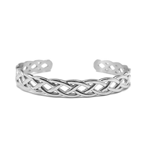 Loralyn Designs Womens Stainless Steel Silver Infinity Celtic Braided Cuff Bangle Bracelet Adjustable -