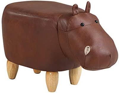 poggiapiedi imbottito a forma di animale TUKAILAI Brown hippopotamus ecopelle Ippopotamo marrone legno