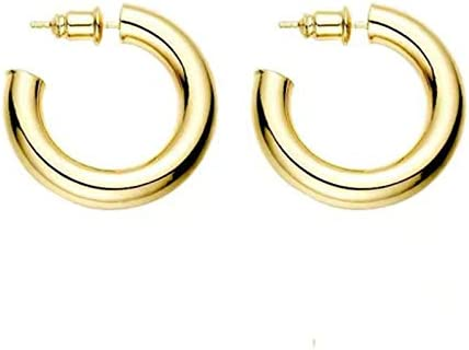 C-type Earring For Women,14K Gold Lightweight Chunky Open Hoops Earrings,Silver Tube Shape Hanging Ear Ring,Fashion Simple Hypoallergenic Jewelry Dangler For Gift,Gold And Silver 2 Pairs In 1 Set