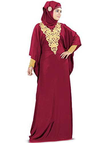 MyBatua Womens Kaftan Gold Embroidered Fancy Abaya for sale  Delivered anywhere in USA